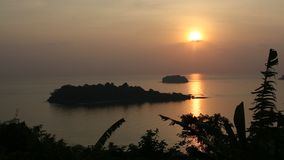 Beautiful sunset on the Koh Chang island stock footage