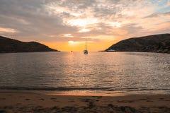 Beautiful sunset in Kolona double bay Kythnos island, Cyclades, Greece. Travel destinations September 2018. Horizontal royalty free stock photo
