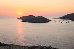 Beautiful sunset of Kolona double bay Kythnos island, Cyclades, Greece. Travel destinations September 2018. Horizontal royalty free stock image