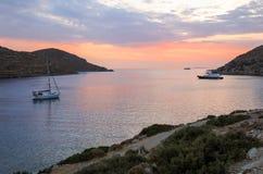Beautiful sunset in Kolona double bay Kythnos island, Cyclades, Greece. Travel destinations September 2018. Horizontal stock photo