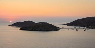 Beautiful sunset of Kolona double bay Kythnos island, Cyclades, Greece. Travel destinations September 2018. Horizontal royalty free stock images