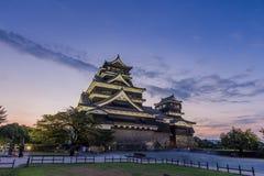 Beautiful sunset at Kumamoto Castle in Kumamoto, Kyushu, Japan. stock image