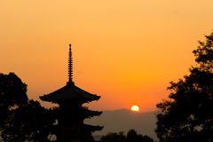 Beautiful sunset in Kyoto Stock Images
