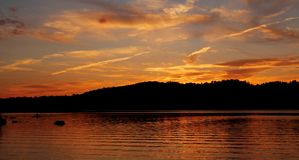 Beautiful sunset on lake Royalty Free Stock Photos