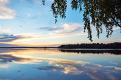 Beautiful sunset on lake Royalty Free Stock Image