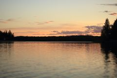 A beautiful sunset on the lake royalty free stock photography