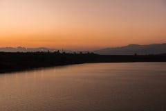 Beautiful sunset on the lake, Chiang Mai Stock Photography