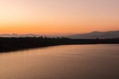 Beautiful sunset on the lake, Chiang Mai Royalty Free Stock Image