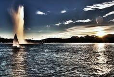 Beautiful sunset on lake Geneva. Lake of Geneva and the `Jet d`eau` in Switzerland Stock Photo