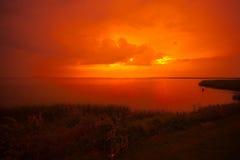 Beautiful sunset at a lake I royalty free stock image