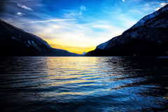 Beautiful sunset on the lake of Molveno. Dolomiti - Italy Royalty Free Stock Photo