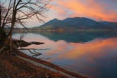 Beautiful sunset at lake shore tegernsee Royalty Free Stock Photos