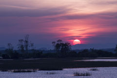 Beautiful sunset on the lake. Sunset time, Twilight time Royalty Free Stock Photography