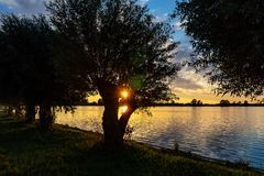 During beautiful sunset in lake Zoetermeerse plas, the sun shines through the branches of a willow stock photo