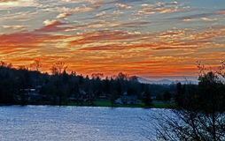 Beautiful Sunset At Lakeside Community Stock Images