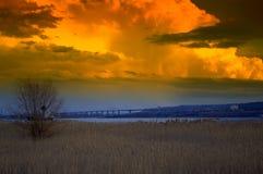 Beautiful sunset lakeside nature view Stock Photography