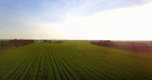 Beautiful sunset landscape of agriculture fields royalty free stock images