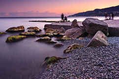 Beautiful sunset landscape in Crimea. Black sea Royalty Free Stock Images