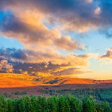 Beautiful sunset landscape scenery of hills and forest at Cargorms National Park stock photos