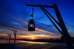Beautiful sunset. Lantern with beautiful sunset background Stock Photo