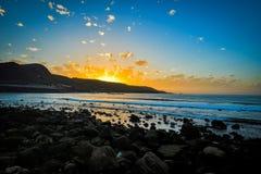 Beautiful sunset on the Las Canteras beach along the city of Las Palmas de Gran Canaria, Spain Stock Photography