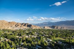 Beautiful sunset in leh city, view from shanti stupa. Ladakh,India Royalty Free Stock Images