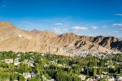 Beautiful sunset in leh city, view from shanti stupa. Ladakh,India Royalty Free Stock Photos
