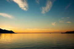 Beautiful sunset on Leman Lake in Montreux  Switerland Stock Photography