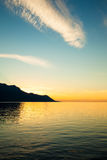 Beautiful sunset on Leman Lake in Montreux  Switerland Stock Images