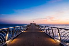 Beautiful sunset in lido di camaiore, tuscany. With a modern pier stock photos