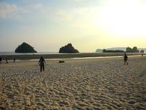 Beautiful sunset light at Ao nang beach, Krabi, Thailand. stock photography