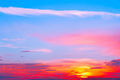 Beautiful sunset, light majestic clouds. In the sky Stock Photography