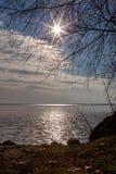 Beautiful sunset light on winter lake Balaton Royalty Free Stock Photo