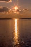 Beautiful sunset light on winter lake Balaton Royalty Free Stock Image