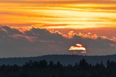 A beautiful sunset like sky is on fire. stock photography
