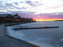 Beautiful Sunset in Lulea with ice and houses. stock image