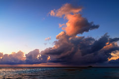 Beautiful Sunset in Maldives. Beautiful sunset over the sea on a cloudy day in Maldives stock images