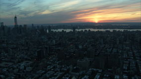Beautiful sunset manhattan skyline aerial stock video