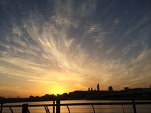 Beautiful sunset. At the marina abu dhabi royalty free stock image