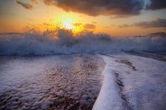 Beautiful sunset on the Mediterranean coast Stock Photos