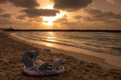 Beautiful sunset on Mediterranean Sea. Stock Photography