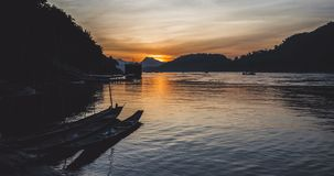 Beautiful sunset on the Mekong river timelapse stock video footage