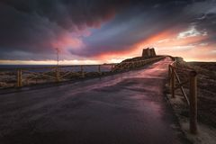 Beautiful sunset at Mesa Roldan stock photo