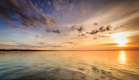 Beautiful sunset in Miedzyzdroje. View from pier. Landscape photography Royalty Free Stock Photography