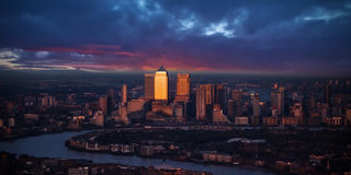 Beautiful sunset of modern part of city London, England Stock Photo