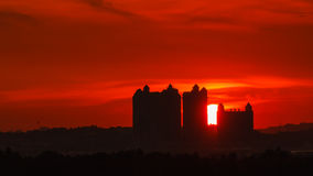 Beautiful Sunset Moment with Silhouette of Buildings Stock Photography