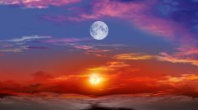 Beautiful sunset with moon Royalty Free Stock Images