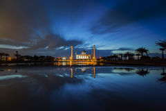 Beautiful sunset at the mosque Stock Photos