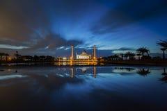 Beautiful sunset at the mosque Stock Photos
