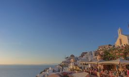 Beautiful sunset at the most famous place of Oia, Santorini. Greece. stock photography